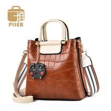 Piler Brand Luxury Handbags Women Bags Designer PU Leather Bucket Bag Ladies Shoulder Messenger Female Purses and