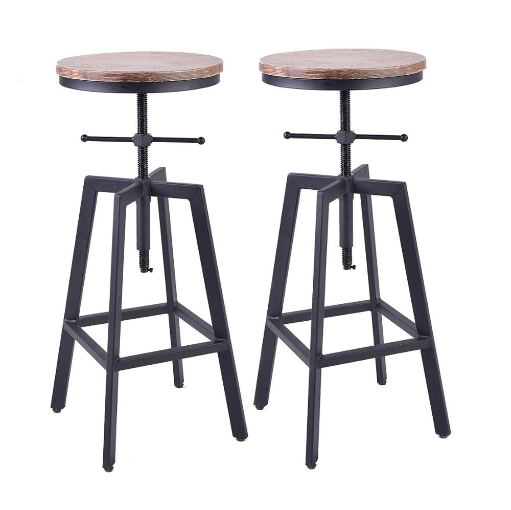 Industrial Bar Stools,Kitchen Dining Chair,Wood Metal Bar Stool,Adjustable Height Swivel Counter Height Bar Chair Set Of 2