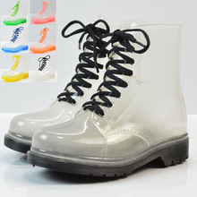 Women Rain Boots Mature Lady Lace Up Waterproof Lady Shoes Transparent Candy Col