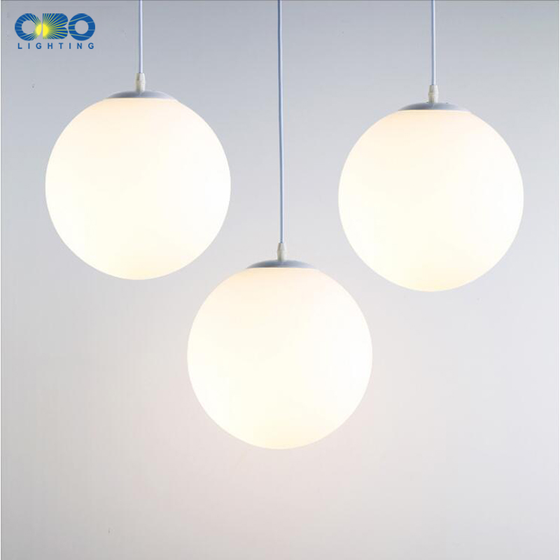 Modern Pendant Lamp White Glass Nordic Vintage Loft Fixtures E27 E26 LED Indoor Cord Pendant Lights Spherical For Ball Bedroom