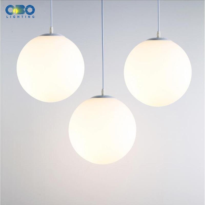 Modern Pendant Lamp White Glass Nordic Vintage Loft Fixtures E27 E26 LED Indoor Cord Pendant Lights Spherical For Ball Bedroom