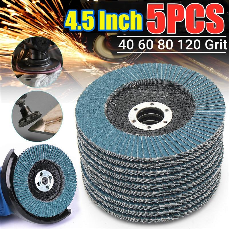 5Pcs Grinding Wheels Flap Discs Sanding Discs 115mm 4.5 Inch 40/60/80/120 Grit Angle Grinder Abrasive Tool Wood Tools