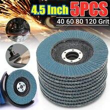 5 pçs rodas de moedura discos flap discos lixamento 115mm 4.5 Polegada 40/60/80/120 grit angle grinder ferramenta abrasiva ferramentas madeira