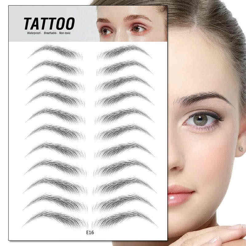 3D Wenkbrauw Sticker Bionische Brow Semi-Permanente Water Transfer Waterdicht Tattoo Eye Brow Borduren Patch Makeup Tools TXTB1