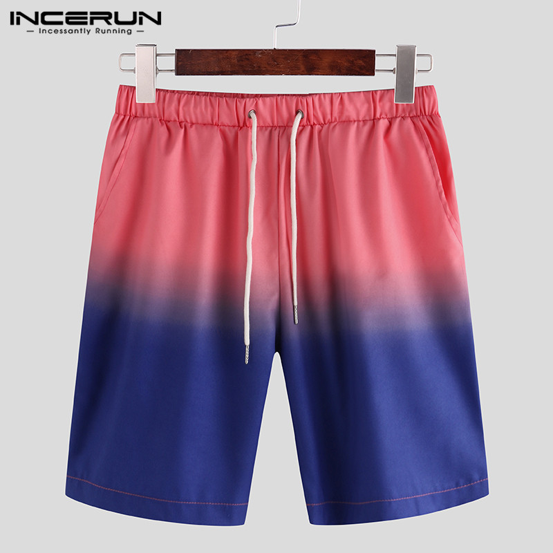 Summer Men Gradient Shorts Tie Dye Casual Loose Trousers Drawstring Streetwear Fashion Knee Length Shorts Hombre S-5XL INCERUN
