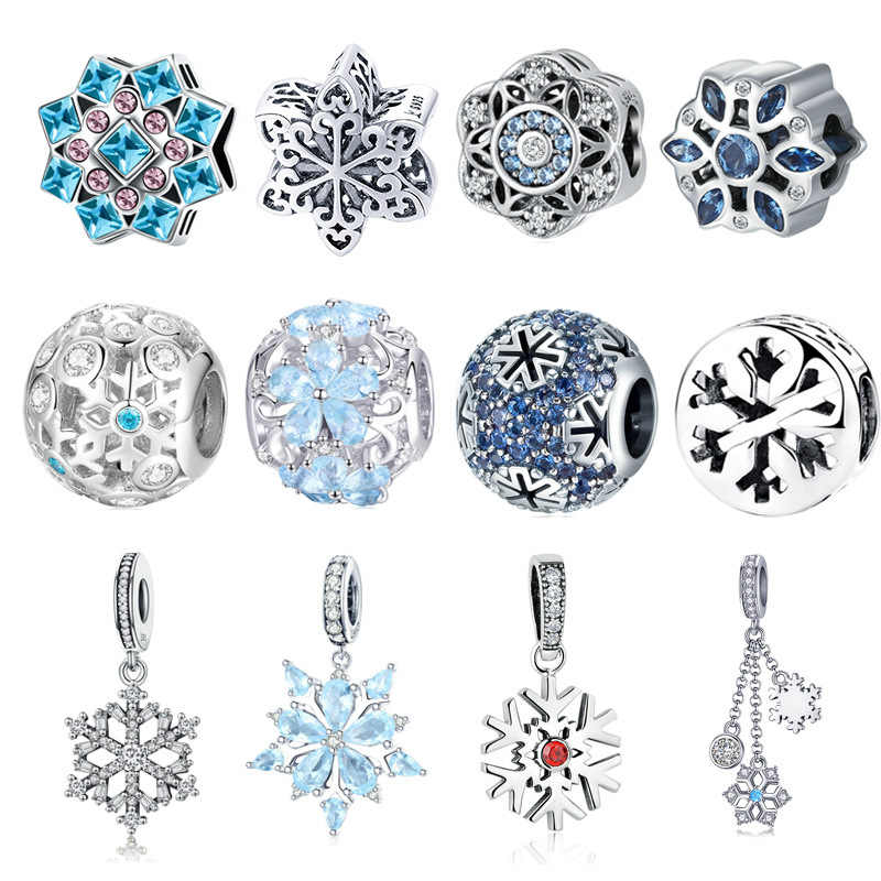 BISAER 925 Sterling Silver Blue CZ Winter Snowflake Crystal Beads for Women Jewelry Making Original Silver Charm Bracelet Gifts