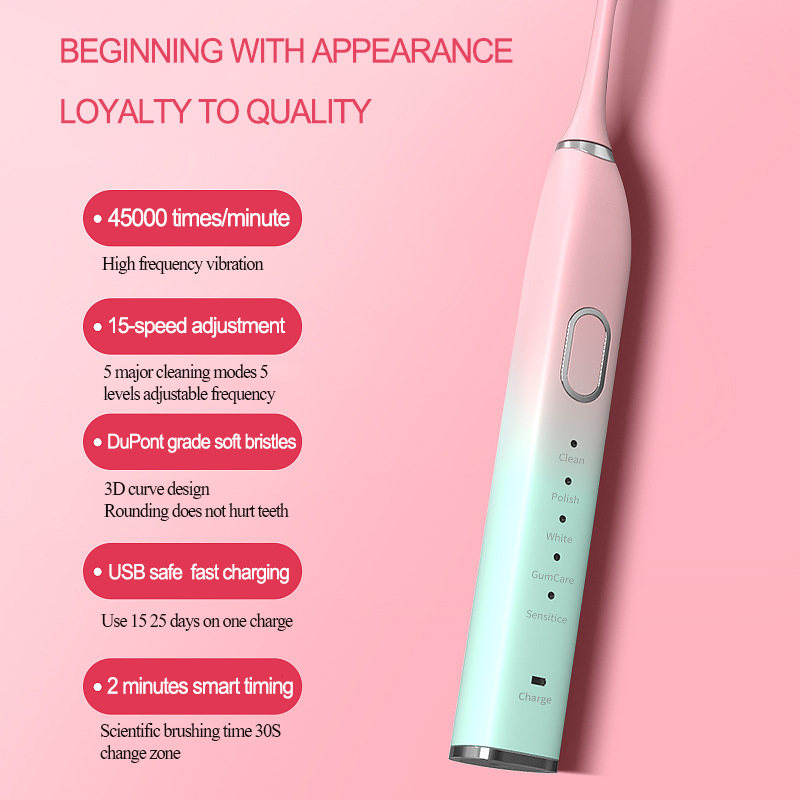 Electric toothbrush ultrasonic adult lovers rechargeable soft hair automatic toothbrush manufacturer wholesale OEM