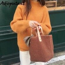 Women Plush Handbags Casual Female Single Shoulder Bags Top