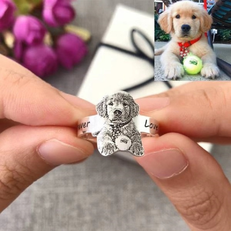 Custom Portrait Ring,Custom Pet Ring,Personalized Pet Ring,Dog Photo Rings,Silver Portrait Pendant,Pet Memorial