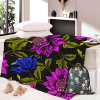 3D Flowers Red Thick Fleece Blankets Twin Full Queen Size Polyester Bedsheet Bedspread Tropical Plants Bed Blanket