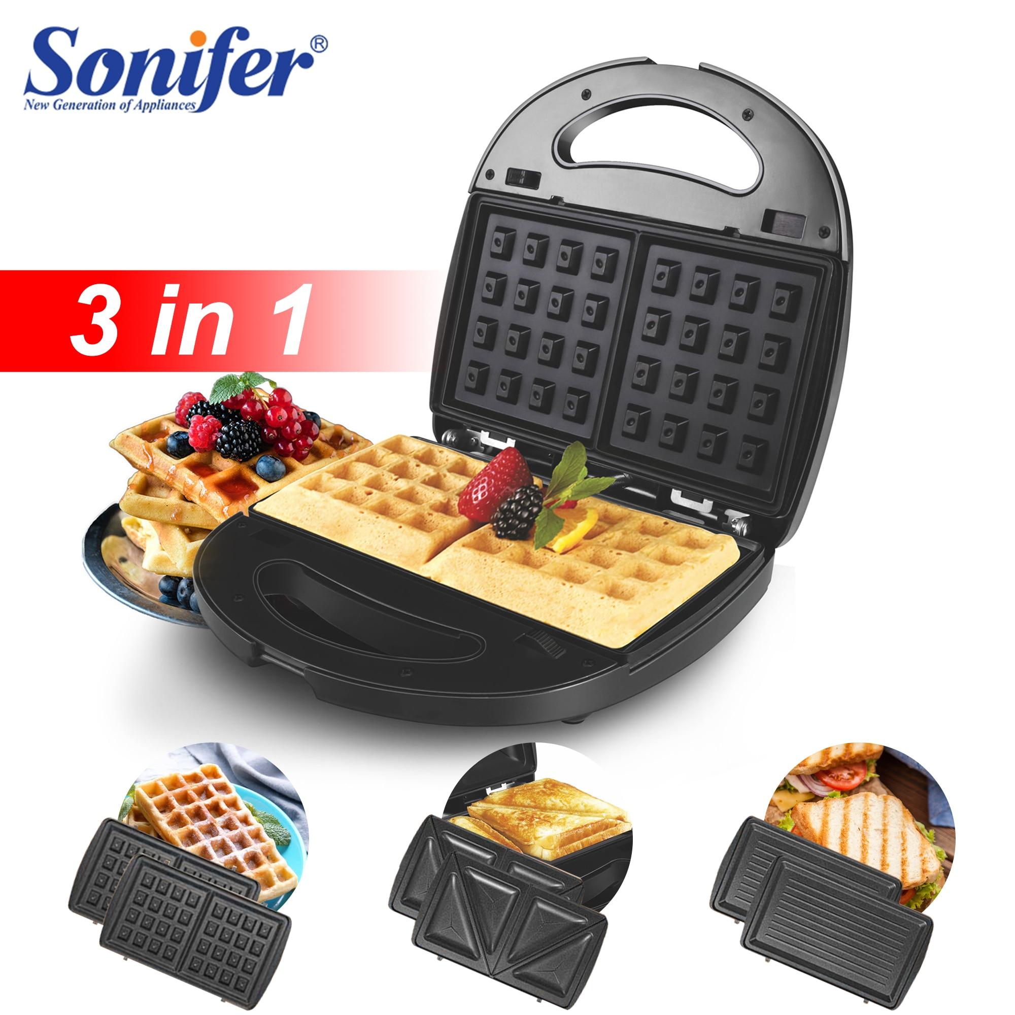 3in1Electric Waffles Maker Sandwich Machine Bubble Egg Cake Oven Kitchen Breakfast Bubble Waffle Iron Donuts Multi-baker Sonifer
