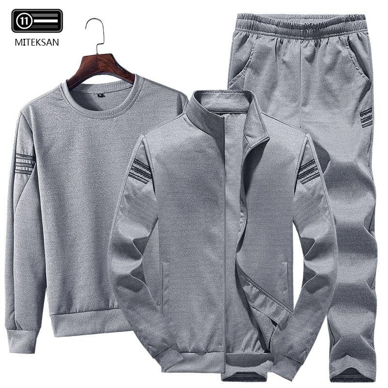 3pcs Men Fashion Sportwear Tracksuit Men Casual Sweatshirt+Fleece Warm Jacket+Jogger Pants Solid Cotton Tracksuit Large Size 4XL