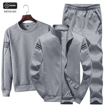 3pcs Men Fashion Sportwear Tracksuit Casual Sweatshirt+Fleece Warm Jacket+Jogger Pants Solid Cotton Large Size 4XL