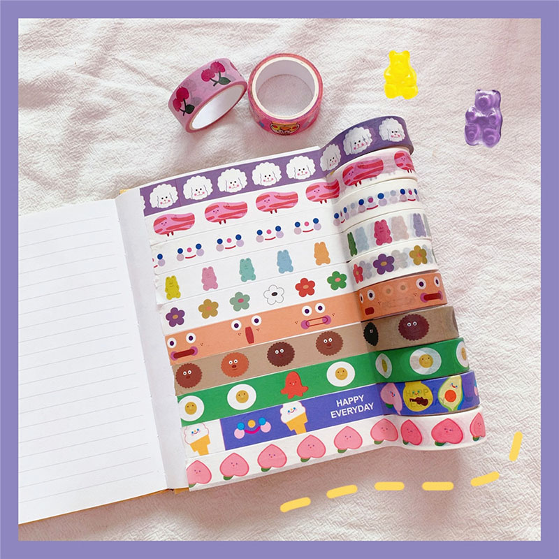 Kawaii Love Heart Masking Tape Cute Cloud Smile Face Washi Tape Decorative Tape For Sticker Scrapbooking Diary Stationery Tape