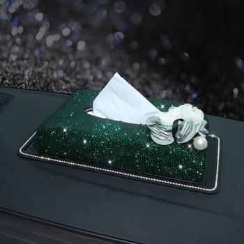 Green Napkin Container with Glitter Diamonds Fashion Car Armrest Tissue Box Block Elegant Tissue Paper Holder Great Ornament