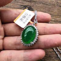 Подвеска из натурального зеленого нефрита с подвеской из стерлингового серебра 925 пробы, ожерелье с цепочкой, нефритовые украшения