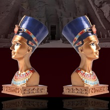 Retro Egyptian Queen Bust Statue Resin Figurine Home Studio Table Decor Ornament living room Desktop decoration resin craft home retro archaize silver horse head statue animal bust luxury model resin craftwork home furnishing articles l2427