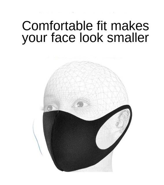 10 / 20 Pcs Washable Mask Mouth Reusable Black Cotton Cloth PM25 Filter Respirator Dust Proof 3D Face Masks FPP2 Adult PM 2.5 4