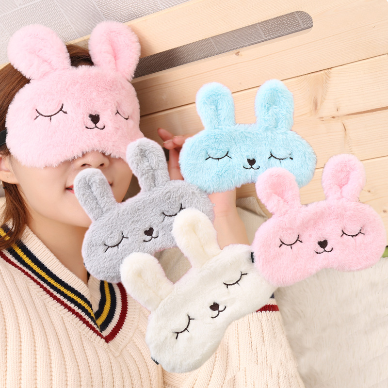 Plush Soft Eye Masks Blindfold Cartoon Rabbit Eye Cover Sleep Shade Eyepatch Bandage Eyelashes Relax Nap Sleeping Aid Eye Patch
