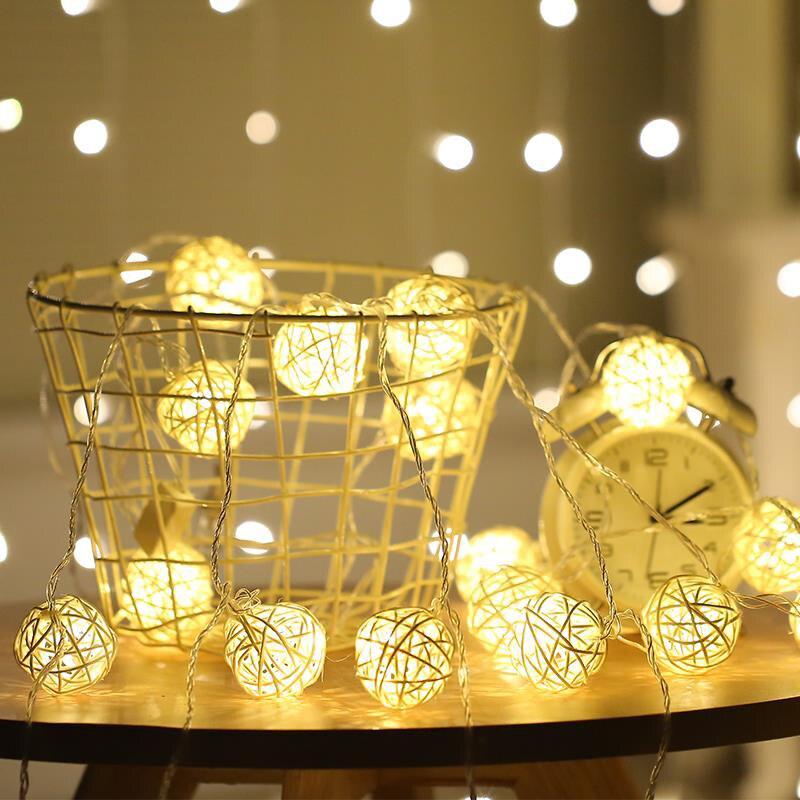 5M Rattan Ball LED String Fairy Lights Garland Led Lights Christmas Decoration Party Holiday Wedding Xmas Decorative String