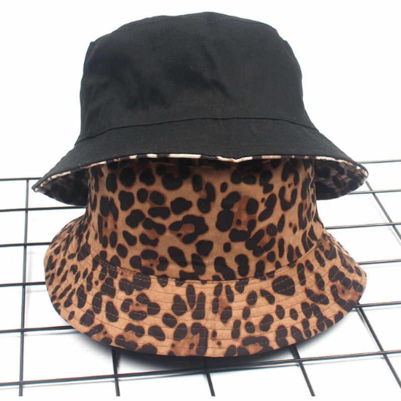 Leopard dwustronny kapelusz typu bucket dla kobiet drukowane czapka damska na zewnątrz piesze wycieczki rybacy kapelusz słońce wiosna lato plaża Panama