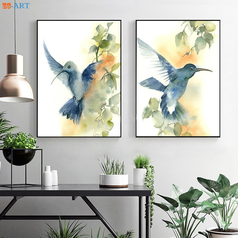 Canvas Painting Green Blue Flying