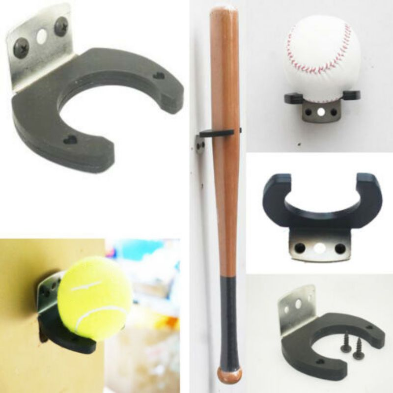 Men Tennis Baseball Bat Shelf Wall Mount Racket Holder Bathroom Display Hook Adhesive Multi-Purpose Wall Ho Oks Door Hanger