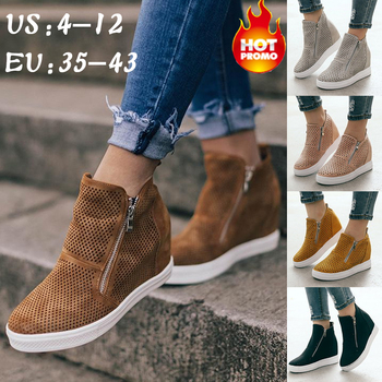 Women PU Leather Sneakers Spring Autumn Female Vulcanizate Shoes Platform Casual Flat Lady High-tops Wedge Heel