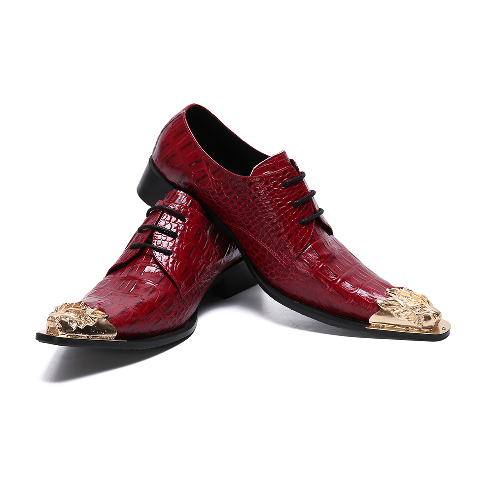Pointed Toe Red Man Formal Dress Loafers Snake Patton Handmade Metal Tips Wedding Party Men's Shoes