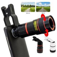 Универсальный 12X HD зум телескоп Телефон Камера Внешний телеобъектив с зажимом для IPhone X 8 7 6 6s Android