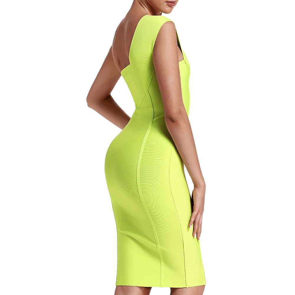 Ocstrade Celebrity Bandage Jurk Nieuwe Collectie 2019 Zomer Vrouwen Neon Groene Bandage Jurk Bodycon Een Schouder Avond Party Dress