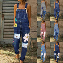 2020 New Summer Women Long Jumpsuits Fashion Flowers Printed Jeans Short Romper