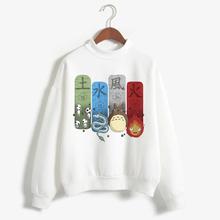 Spirited Away Totoro japoński kaptur kobiety bluza z kapturem Studio Ghibli bluza Kawaii ponadgabarytowych kreskówka kobieta Ulzzang japońskie Anime tanie tanio ojuiyuhu COTTON Modalne Swetry Na co dzień Suknem Stałe Golfem REGULAR Pełna