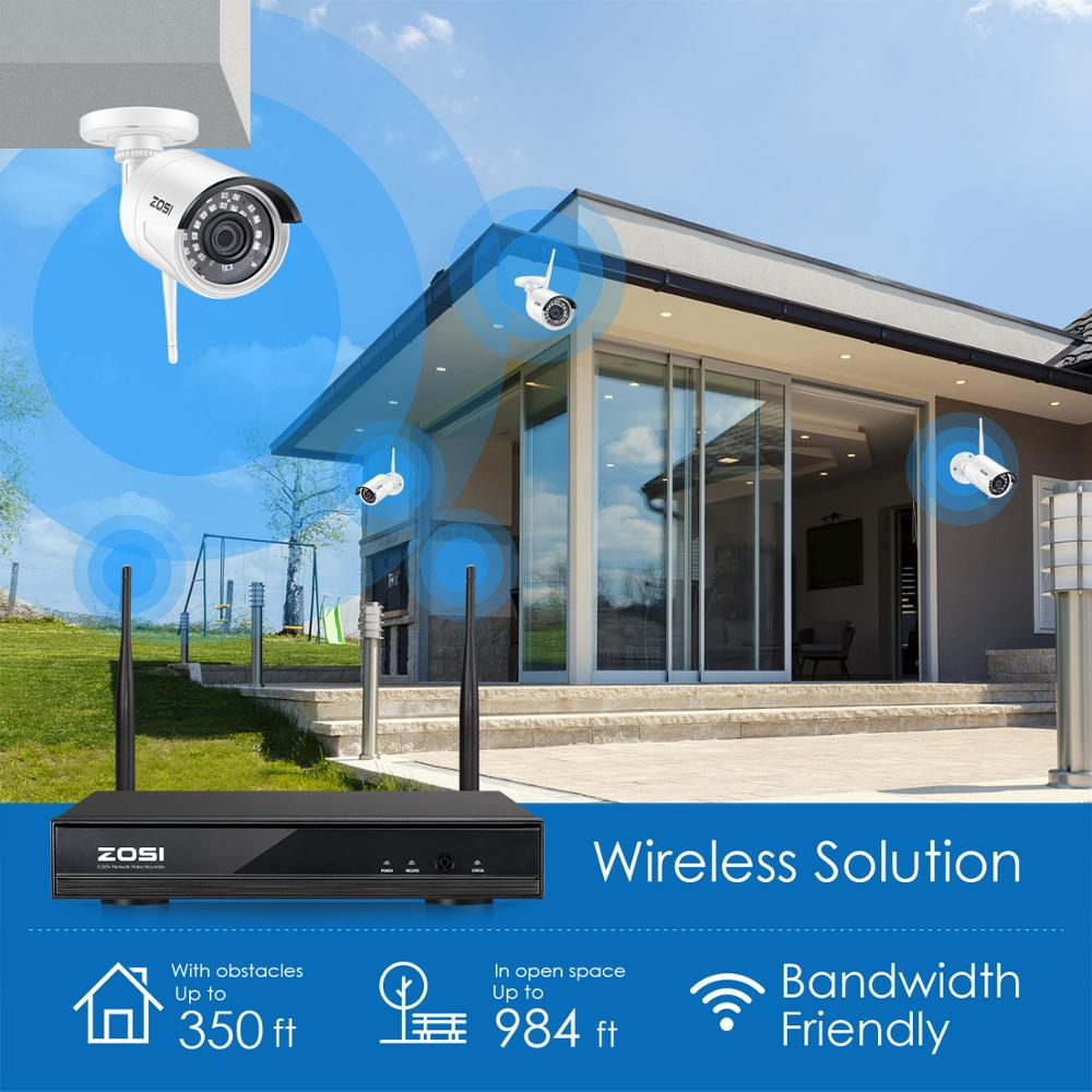 ZOSI Wireless Security Cameras System,H.265+ 8CH 1080P HD Network IP NVR and 2pcs 2.0MP HD Wireless Outdoor IP Surveillance Cam