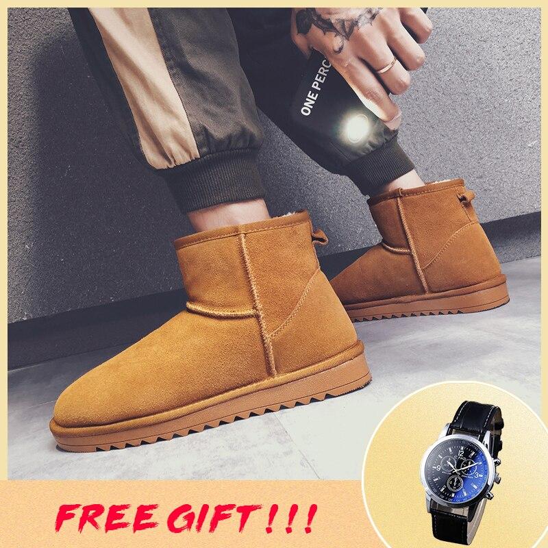 35~46 Men Snow Boots Genuine Leather Cow Suede Warm Brand Men Winter Boots #BG5484