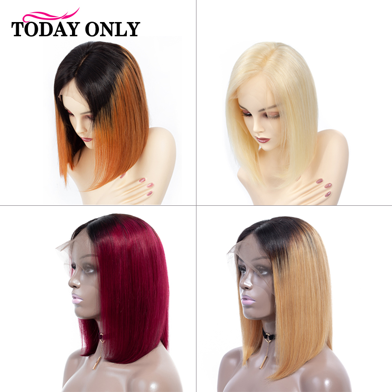 TODAY ONLY 613 Brazilian Straight Lace Front Wig Short Bob Lace Front Human Hair Wigs For Black 13x4 Blonde Human Hair Wig Remy image