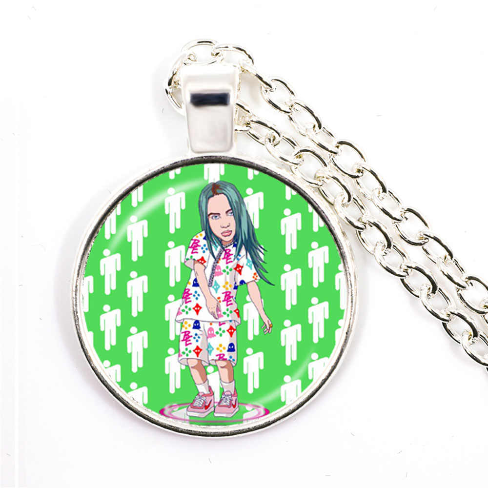 Hip Hop Billie Eilish Necklace Popular Young Singer Harajuku Art Picture Hip-hop Music Glass Dome Bad Guy Pendant Jewelry