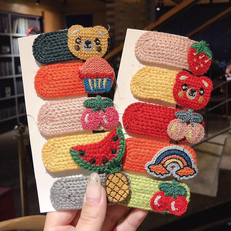 Lovely Hand Made Colored Wool Hairpin Fruit Barrette Animal Hairpin Animal Hairpin Women Hair Clips Hair Accessories For Girls
