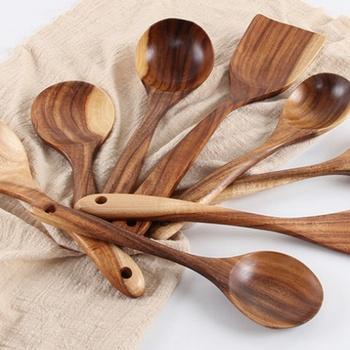 Non-stick naczynia sztućce zestaw drewniane naczynia kuchenne nóż widelec łyżka zestaw naczynia kuchenne z długim uchwytem łopatka płaskie łopata 1 PC tanie i dobre opinie Dinnerware Set Drewna Zaopatrzony Ekologiczne Tokarstwo Ce ue