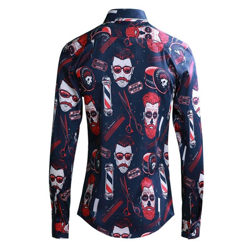 2019 Europe Men Fashion Boy Red Print Shirts Long Sleeve Turn down Collar Slim Fit Shirt Black Blue Male Clothing Streetwear - 5