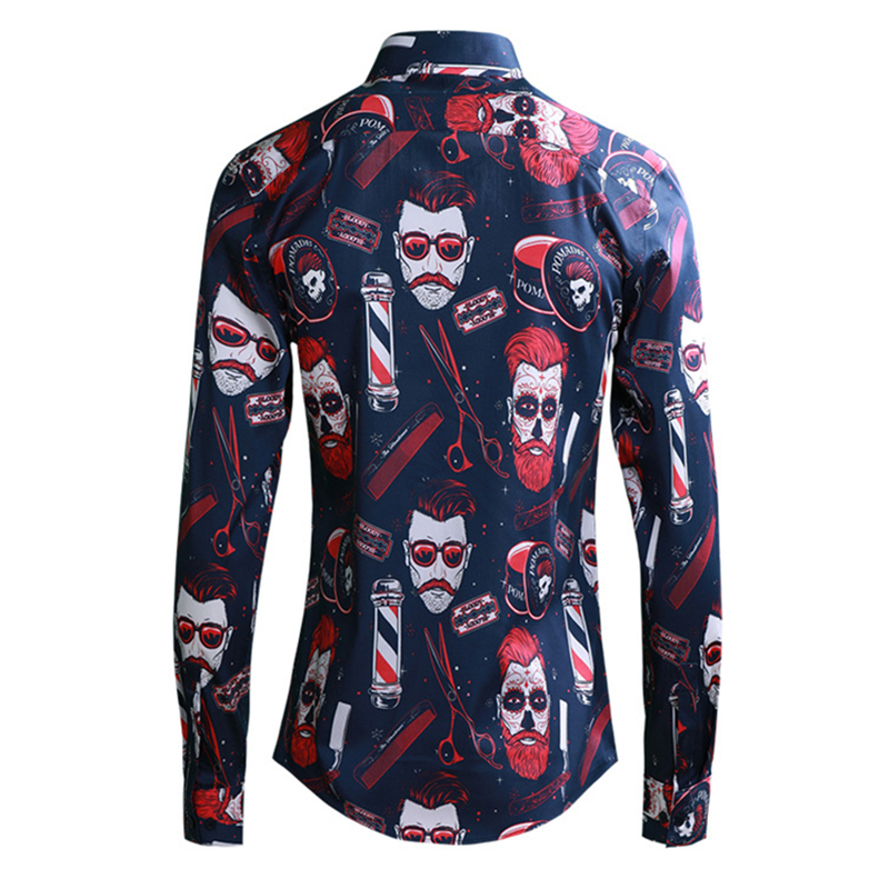 2019 europa moda masculina menino vermelho impressão camisas manga longa turn down colarinho fino ajuste camisa preto azul roupas masculinas streetwear - 5
