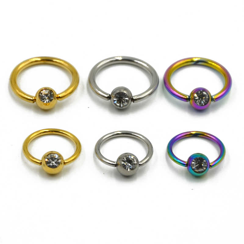Visualización grande CBR piercing anillo neumáticos pa acero quirúrgico 3mm-10mm tabique oreja nariz