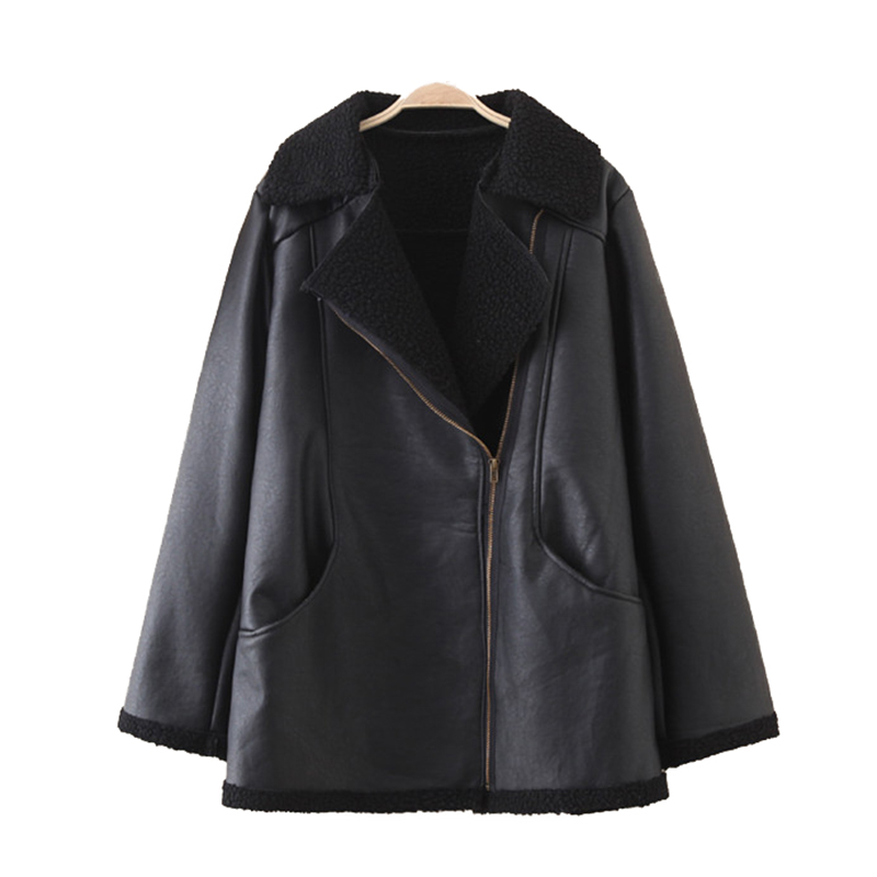 2019 New Autumn Winter Oversize Leather Jacket Women Short PU Leather Flocking Thicken Outerwear Female Loose Plus size 4XL <font><b>G731</b></font> image