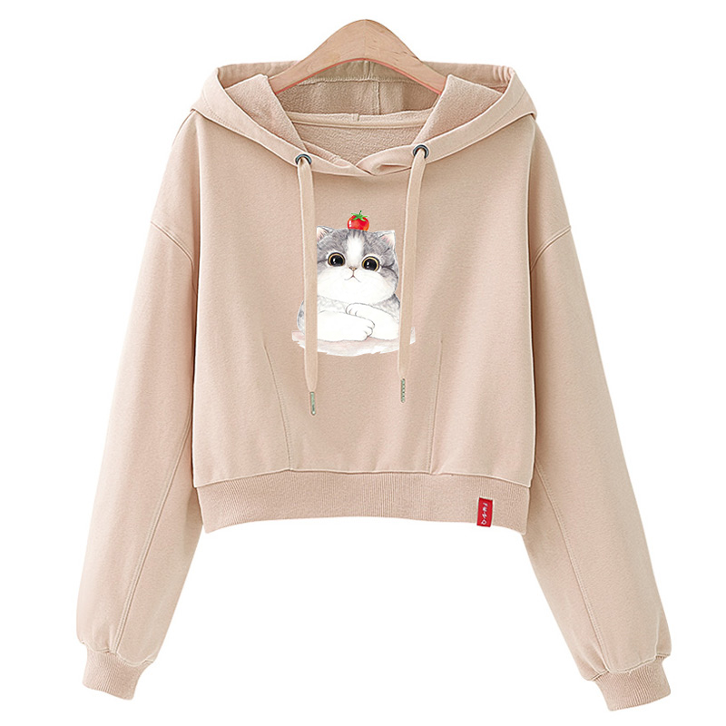 Sweatshirt Female Pullover Coat/jacket Women Hoodies Loose Harajuku-Print Funny Winter Fleece