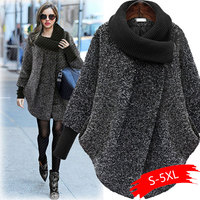 2019 Plus Size Bat Sleeved Woolen Coat Scarf Collar Jackets Women Winter Fashion Outerwear Thicker Loose Coat Zipper Casual