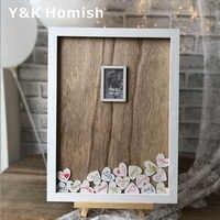 Livre D'or de mariage, Y & K Molish Cadre Photo En Bois, Cadre Supérieur Signe Livre avec 100 pièces Coeurs En Bois Rustique De