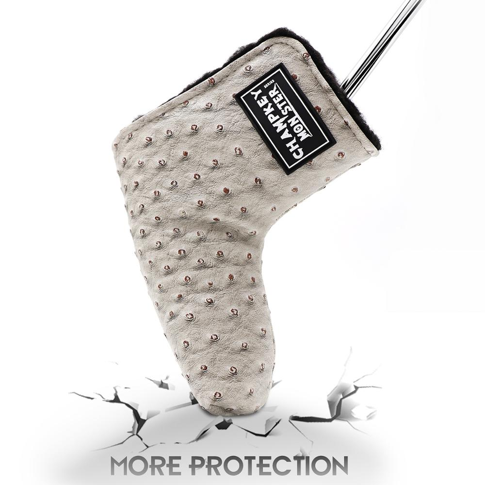 PU Golf Putter Cover For Golf Activity Embroidery Golf Blade Putter Head Protector