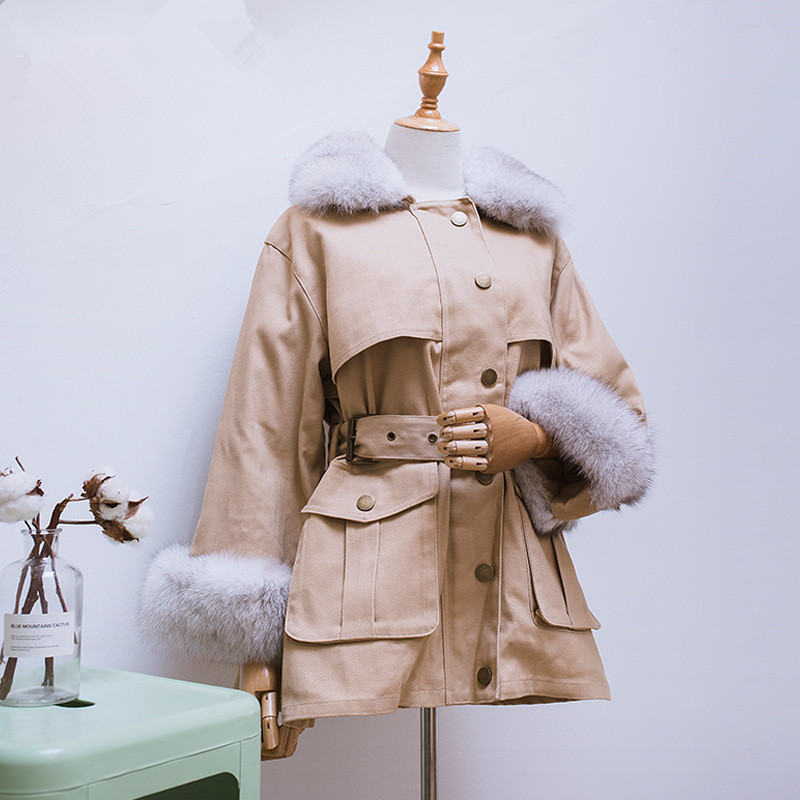 Student Down Jacket Loose Mid-long Belt Fox Fur Down Liner Detached Slim Thick Warm Duck Down Coat Winter Women Parka NS1571