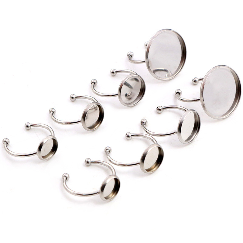 8/10/12mm/20 Mm No Fade Stainless Steel Adjustable Ring Settings Blank/Base,Fit 8-20mm Glass Cabochons,Buttons;Ring Bezels
