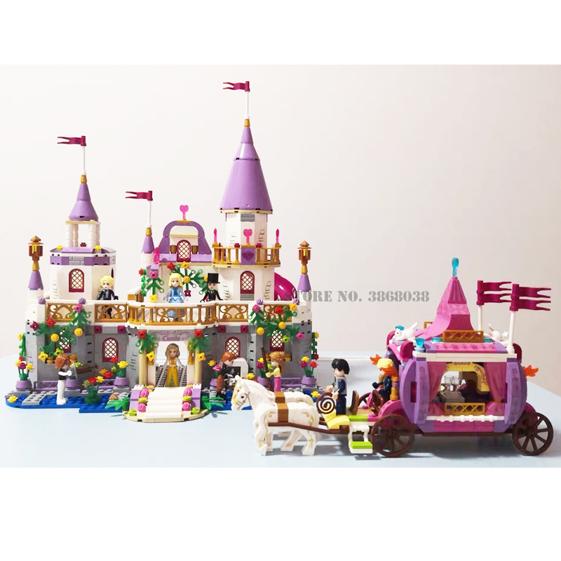 Girls lepining Friends QL1106 Windsor <font><b>Castle</b></font> Building Blocks 41148 Snow Queen Elsa Anna Cinderella Figure Princess Toy Gifts image